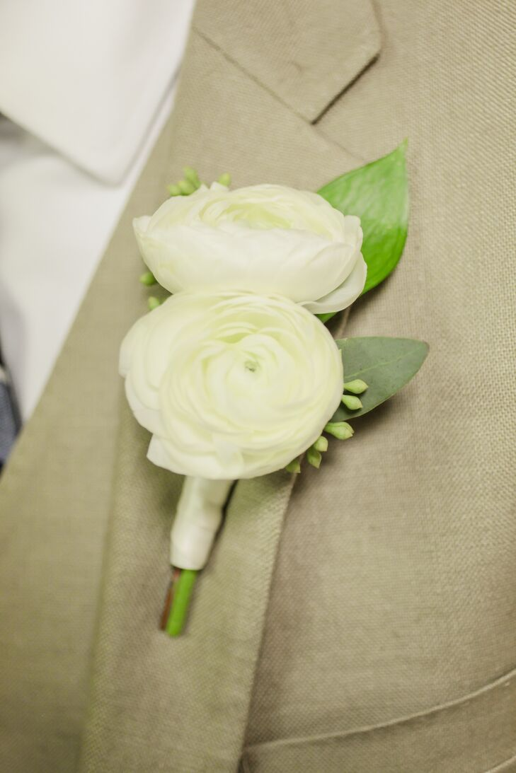 clearwater beach florida double white ranunculus boutonniere
