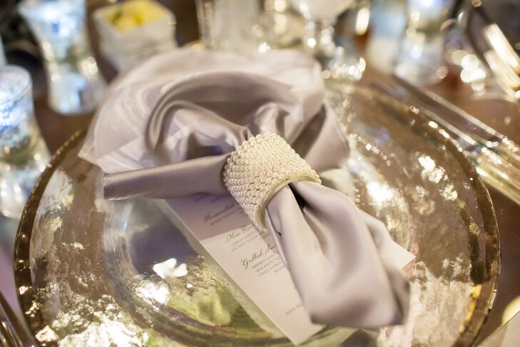 Gray Linen Napkin with Pearl Napkin Ring