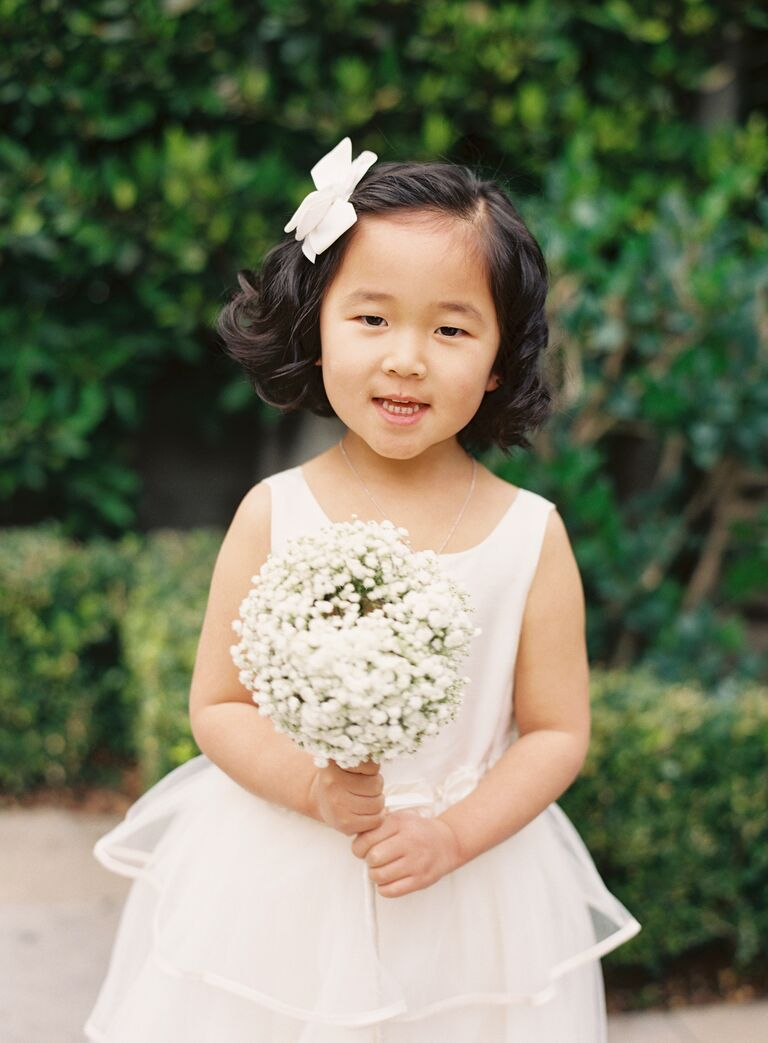 Flower girl dress and bouquet