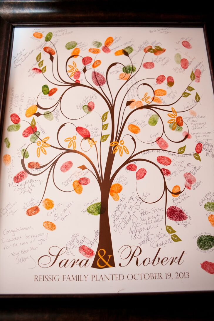 "Guests ""signed"" the tree guest book by leaving their thumbprint in their choice of fall-colored ink."