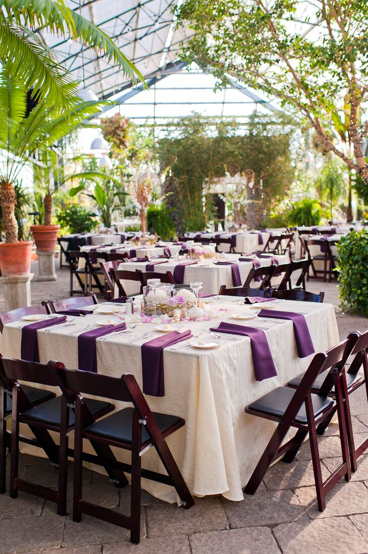 Purple and White Linens with Brown Folding Chairs