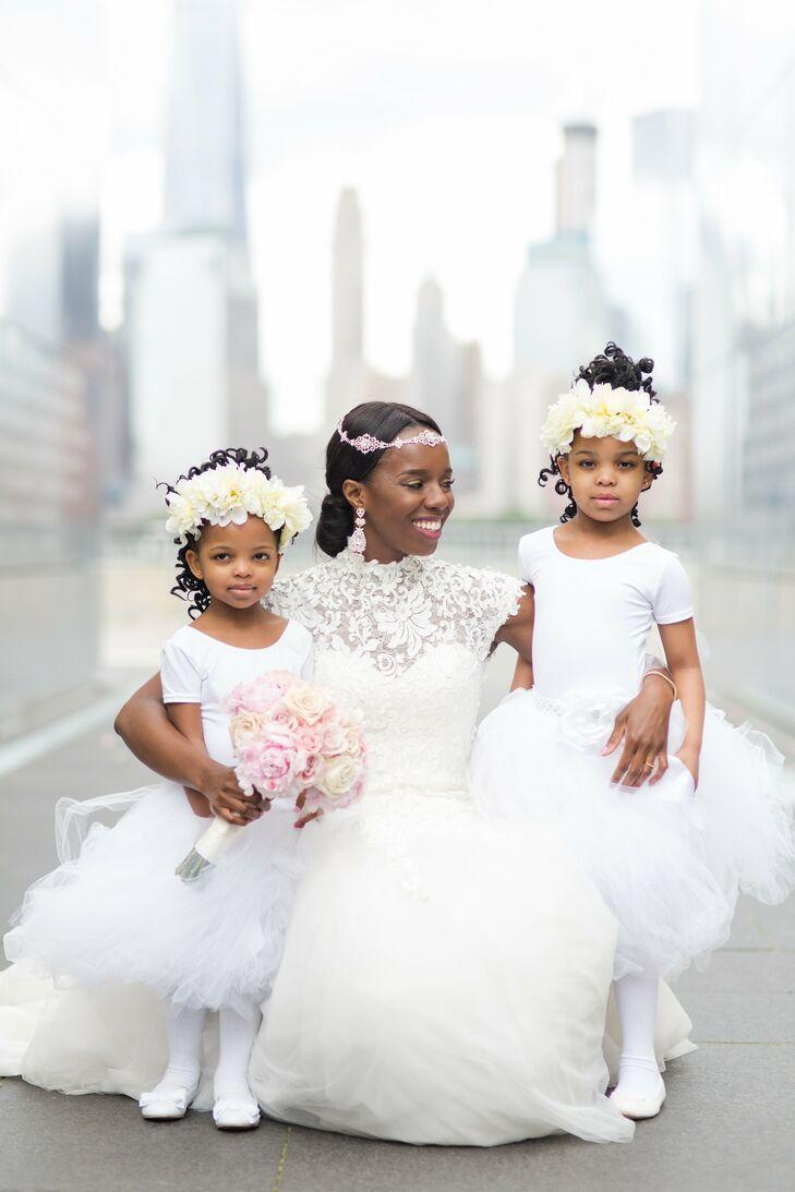 Full Tulle Flower Girl Dresses And Handmade Flower Crowns