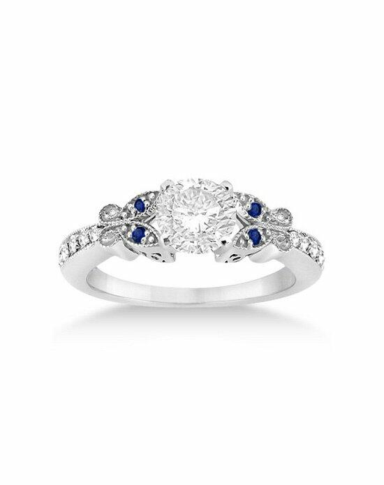 Allurez - Customized Rings Butterfly Diamond & Sapphire Engagement Ring 14k White Gold Engagement Ring photo