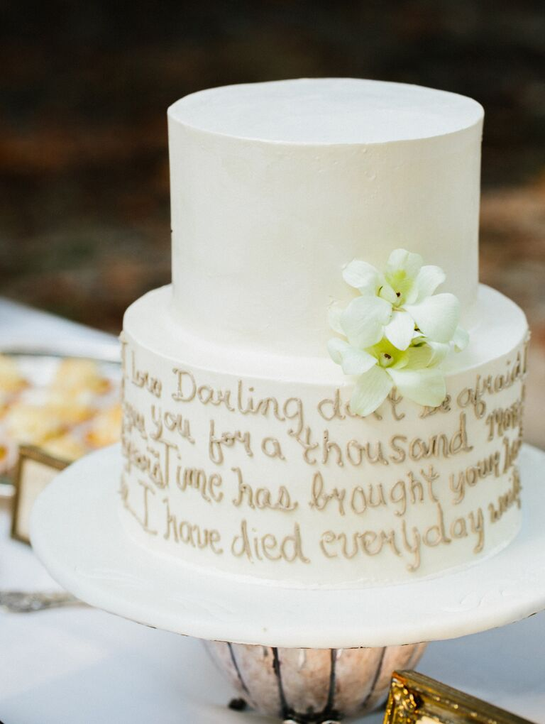 10 unexpected wedding cake ideas favorite quote wedding cake idea junglespirit Image collections