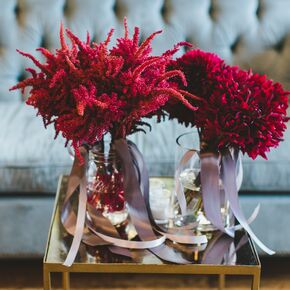 Simple Burgundy Bouquets With Pastel Ribbons