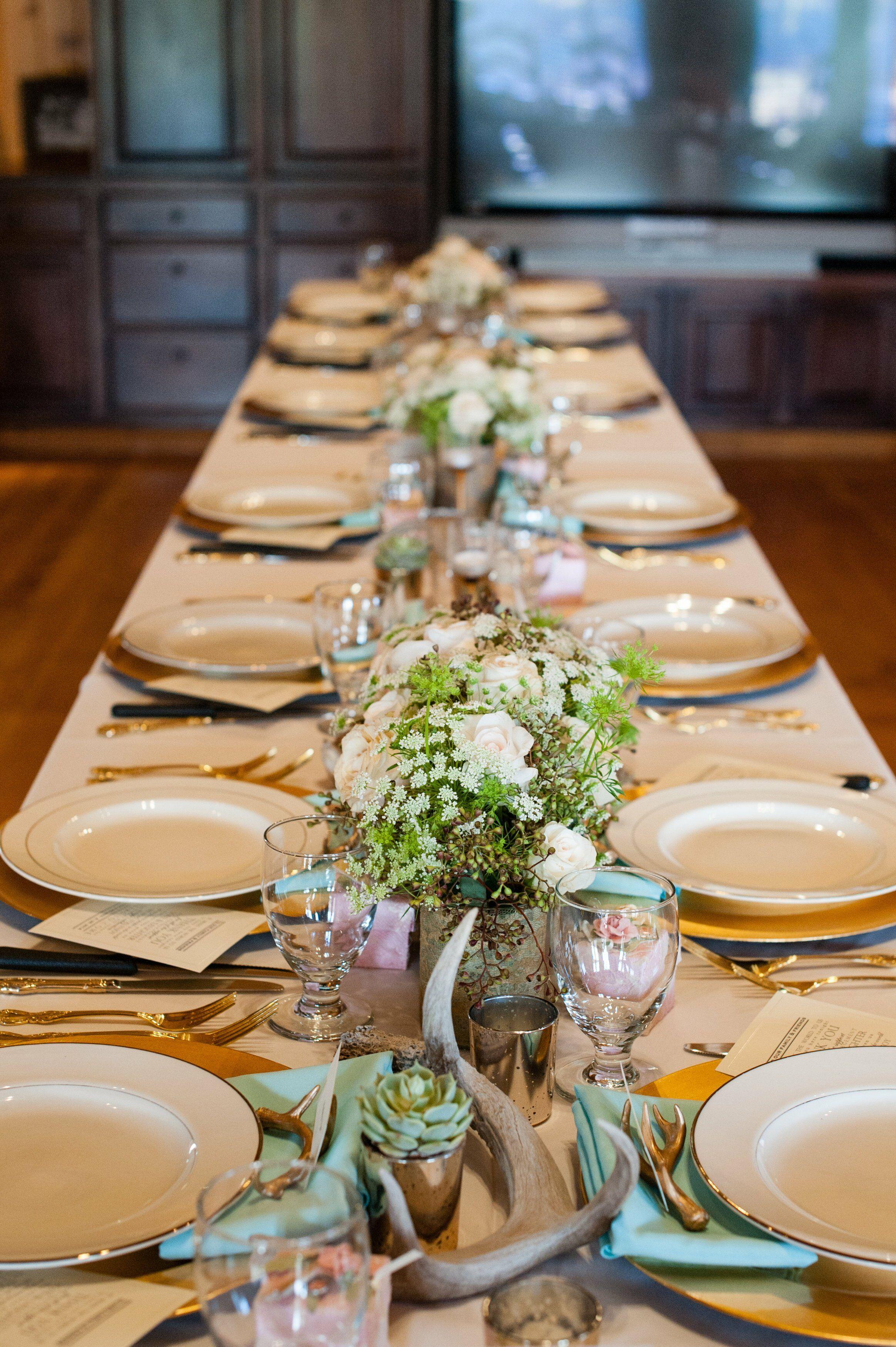 antler reception table decor