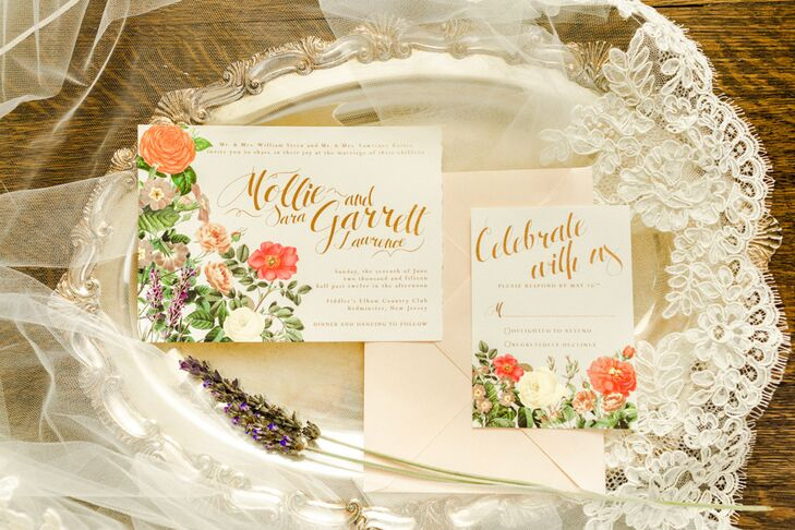 In addition to DIY decorative details, Mollie, who is a graphic designer, created all the stationery for the wedding, which included save-the-dates, invites, menus, day-of stationery and more. The invitations featured a floral display that matched the day's flower arrangements.