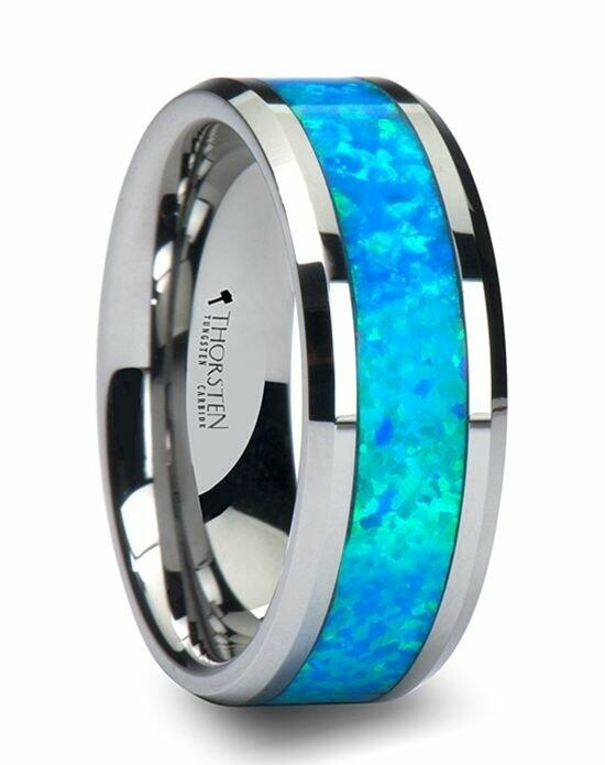 Larson Jewelers QUASAR Tungsten Wedding Band with Blue Green Opal Inlay - 6 mm - 10 mm Wedding Ring photo
