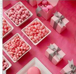 pink candy and wedding favors