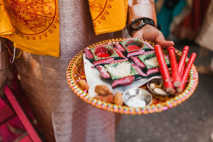 Traditional Hindu elements were included in the wedding ceremony.