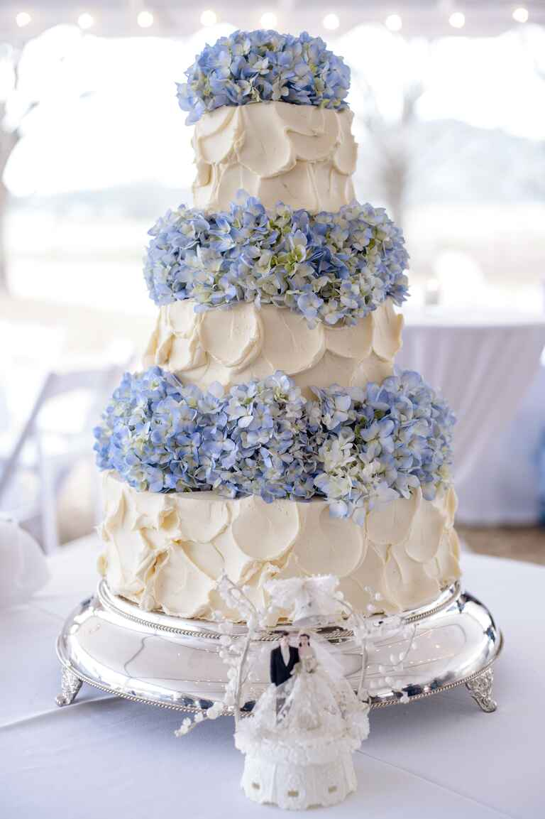 Three tiered buttercream cake with blue hydrangea layers