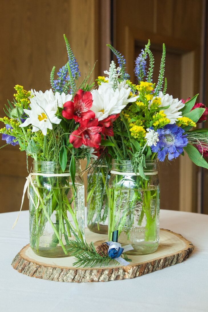 Red white blue and yellow wildflower centerpieces