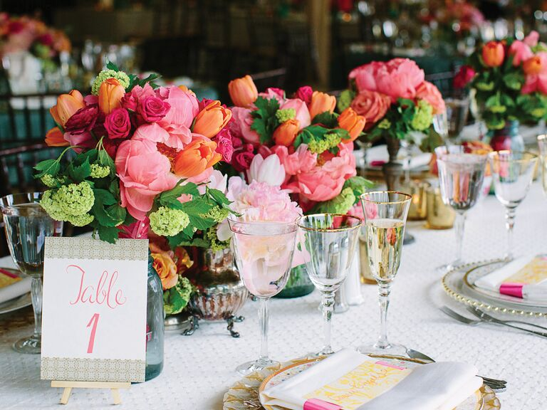 Peony, tulip, rose and hydrangea reception centerpieces