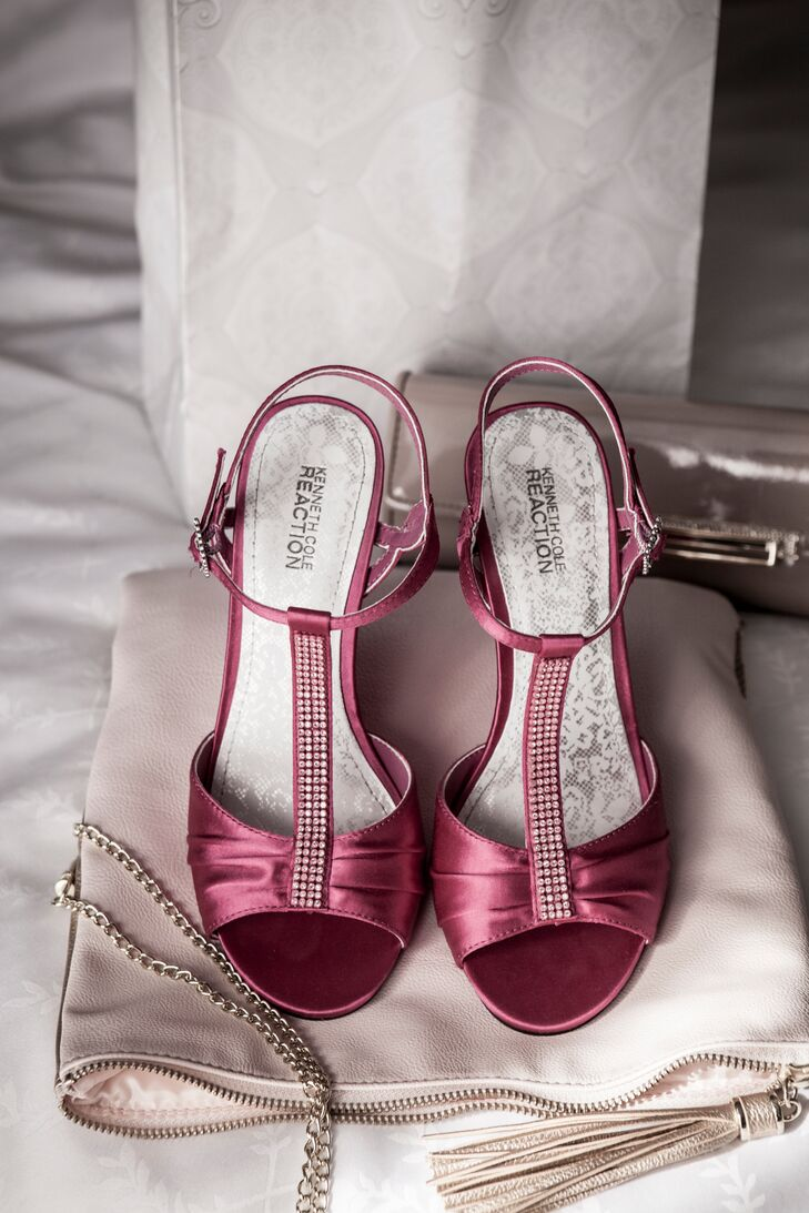 Liza wore strappy crystal-embellished burgundy heels for her classic wedding.