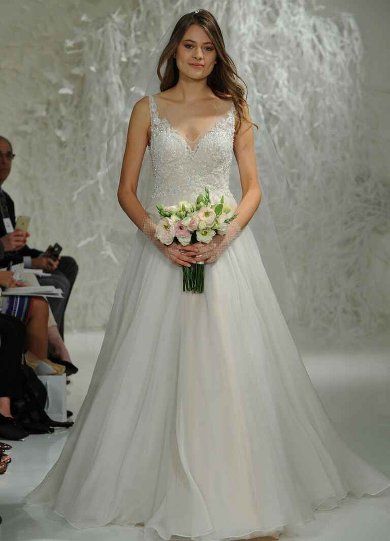Watters Fall 2016 beaded lace bodice A-line ball gown wedding dress with lace applique V neckline