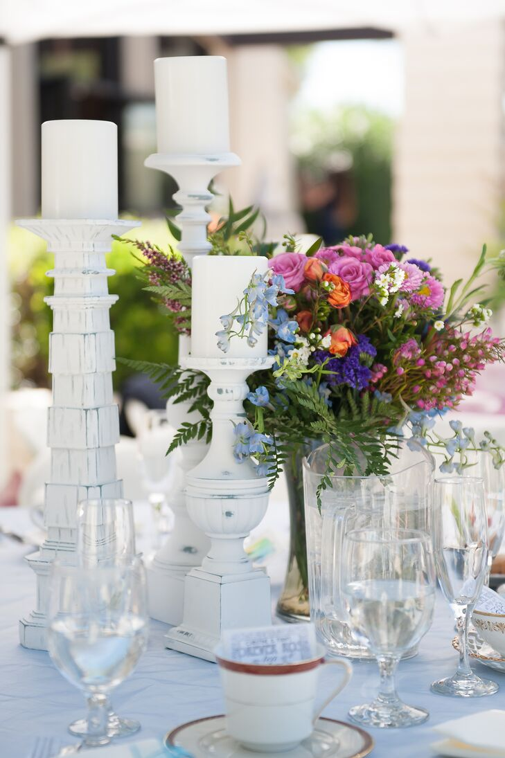 Colorful Elegant Centerpiece With White Candelabras