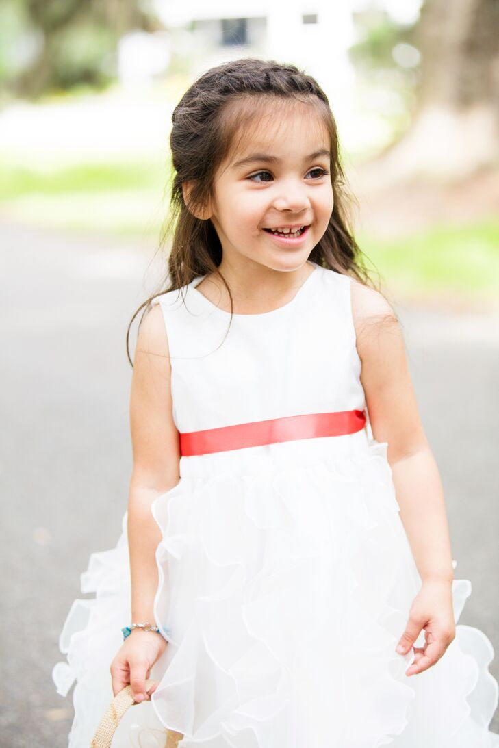 Ruffled Flower Girl Dress With Coral Sash