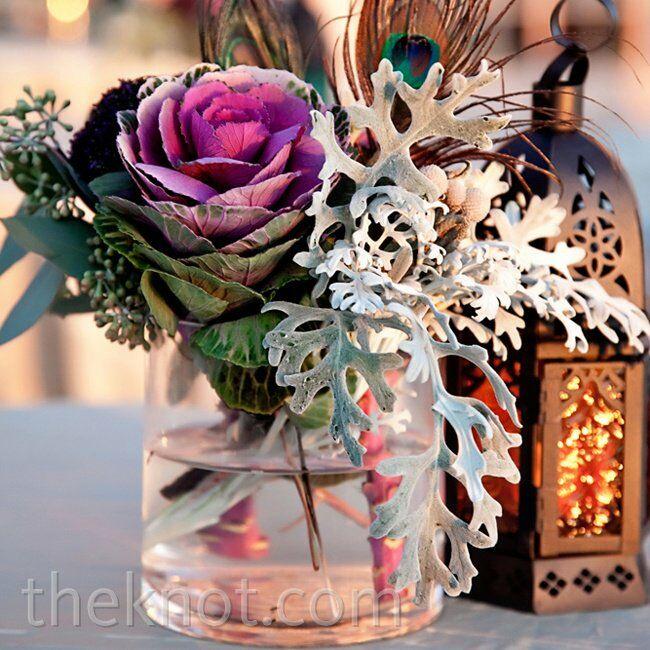Purple cabbage rose centerpiece