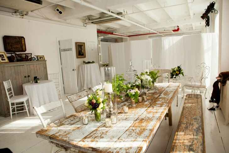 Rustic, wooden interior wedding reception space at Gary's Loft in New York City