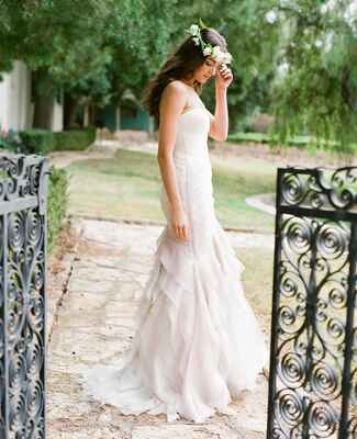 Kelly Faetanini wedding gown with flower crown by Flowerwild | Jose Villa | blog.theknot.com