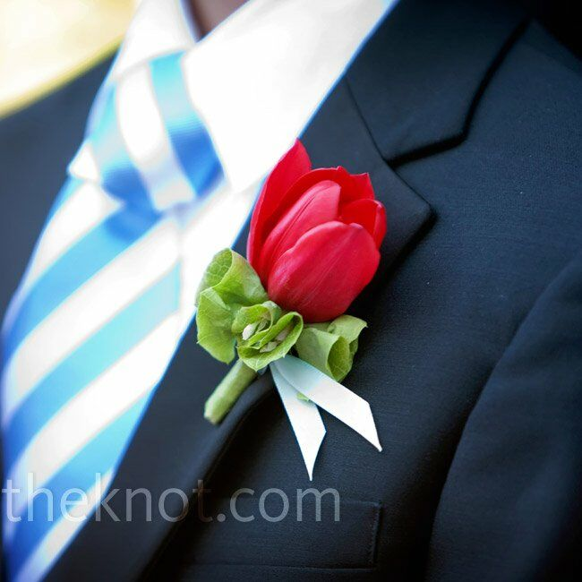 Red Tulip Boutonnieres