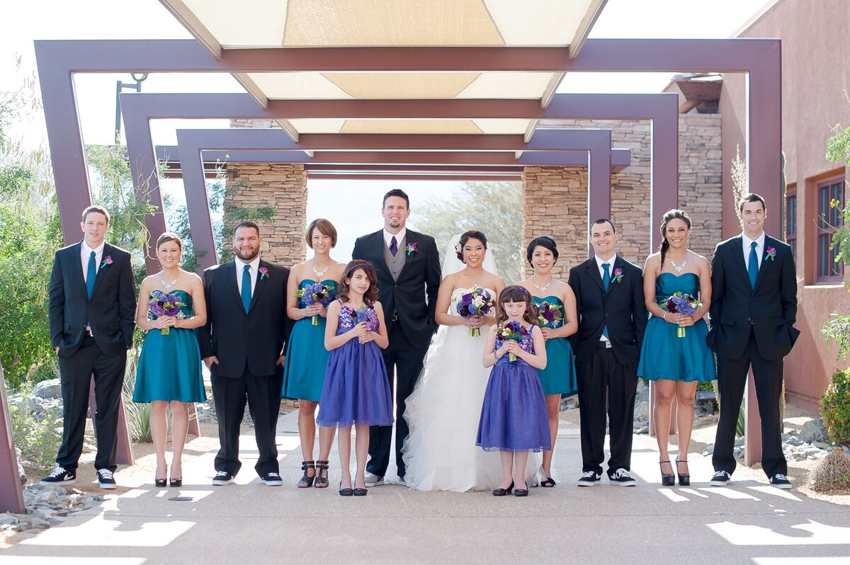 Teal, Purple And Black Wedding Party