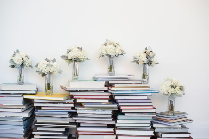 Ivory Bouquets Stacked on Books