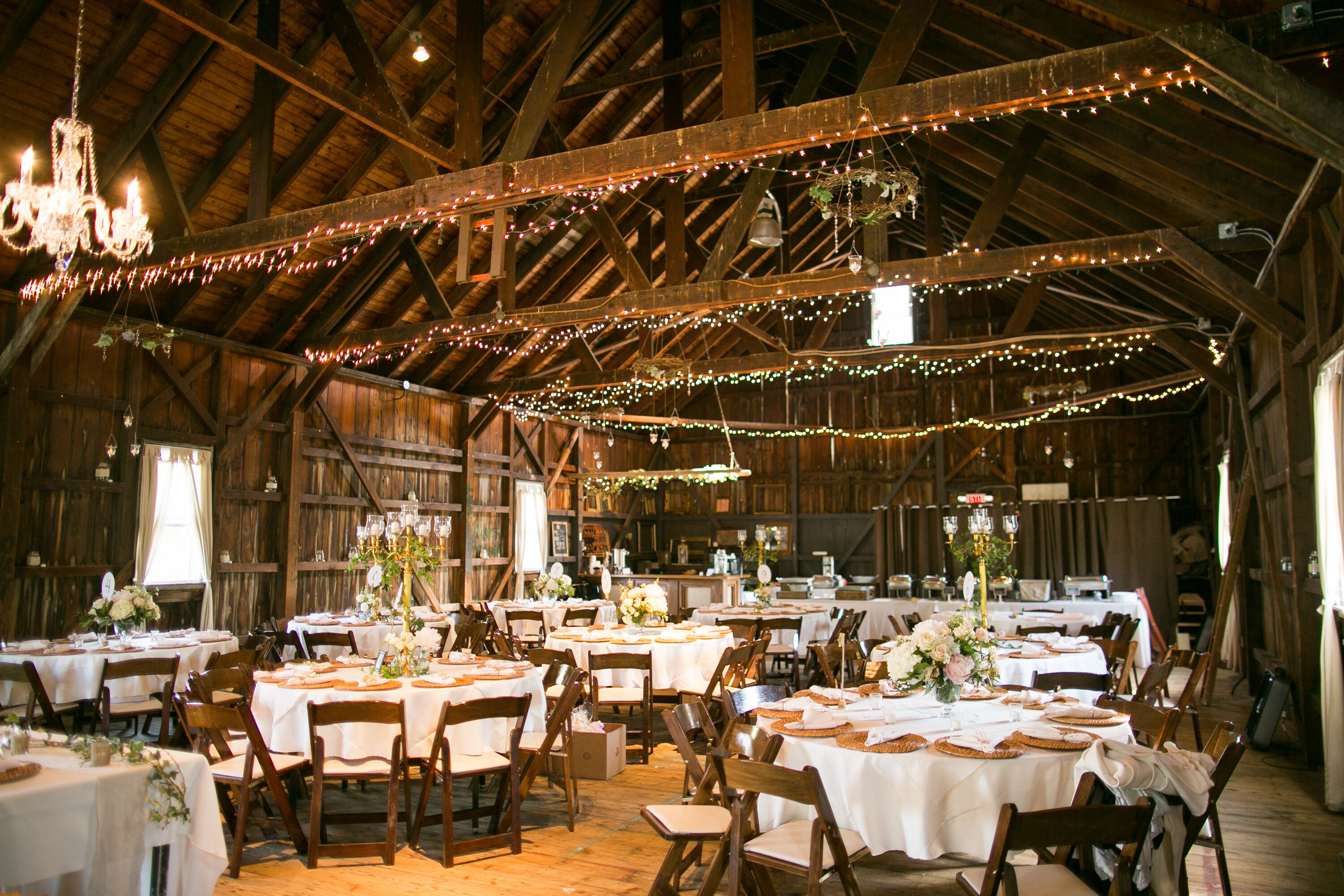 Rhodes Barn Reception With String Lights