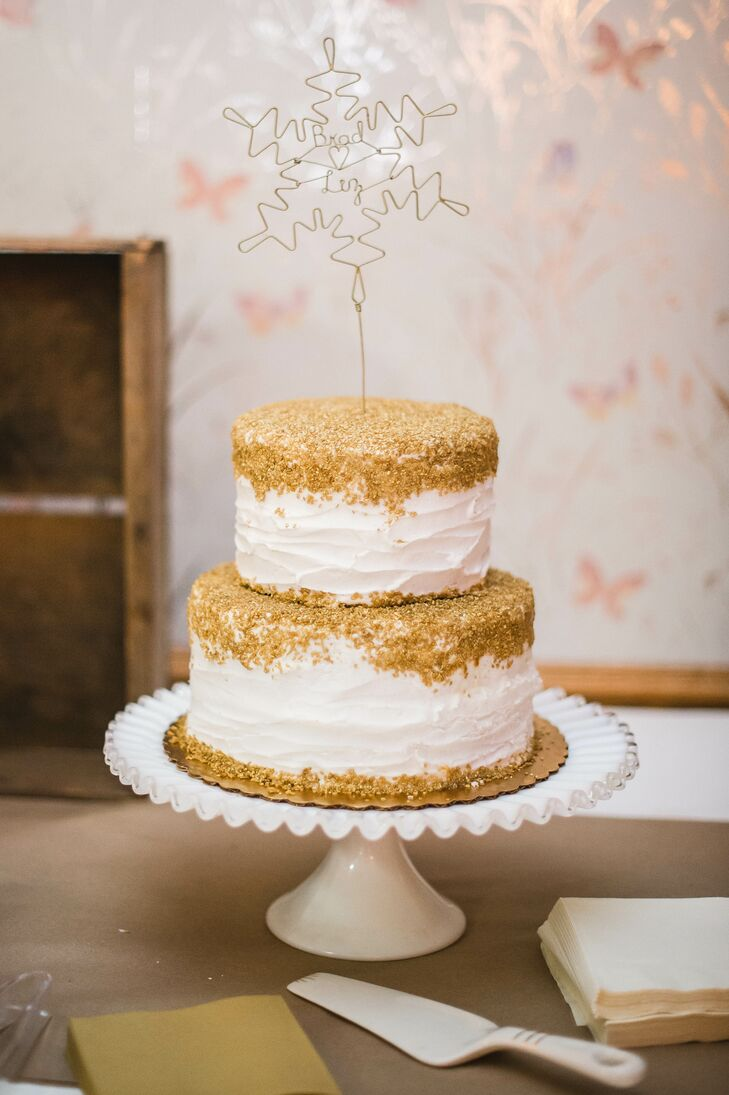 Gold Topped White Buttercream Wedding Cake