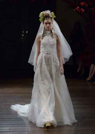 Naeem Khan Fall 2016 a-line sleeveless wedding dress with floral appliqués and high collar