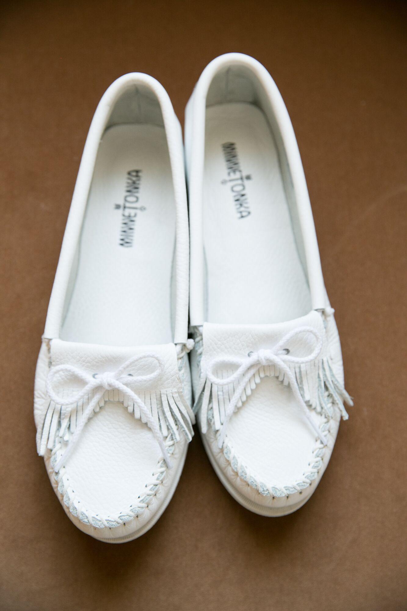 White Minnetonka Wedding Shoes