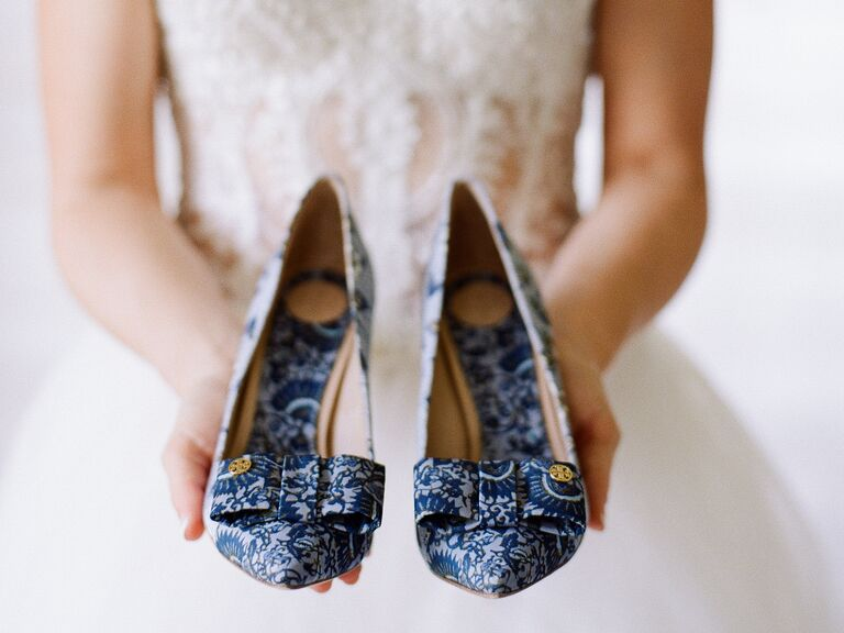 blue patterned bridal heels