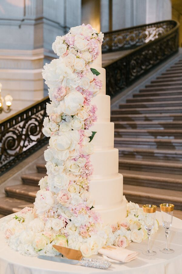 Romantic wedding cakes seven tier cake with cascading ivory and pink flowers mightylinksfo