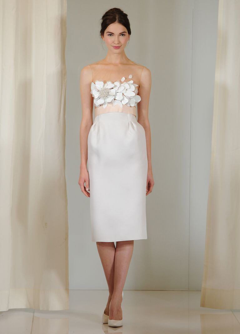 Angel Sanchez Fall 2016 Sleeveless Knee Length Gazar Wedding Dress With Hand Cut Flowers On