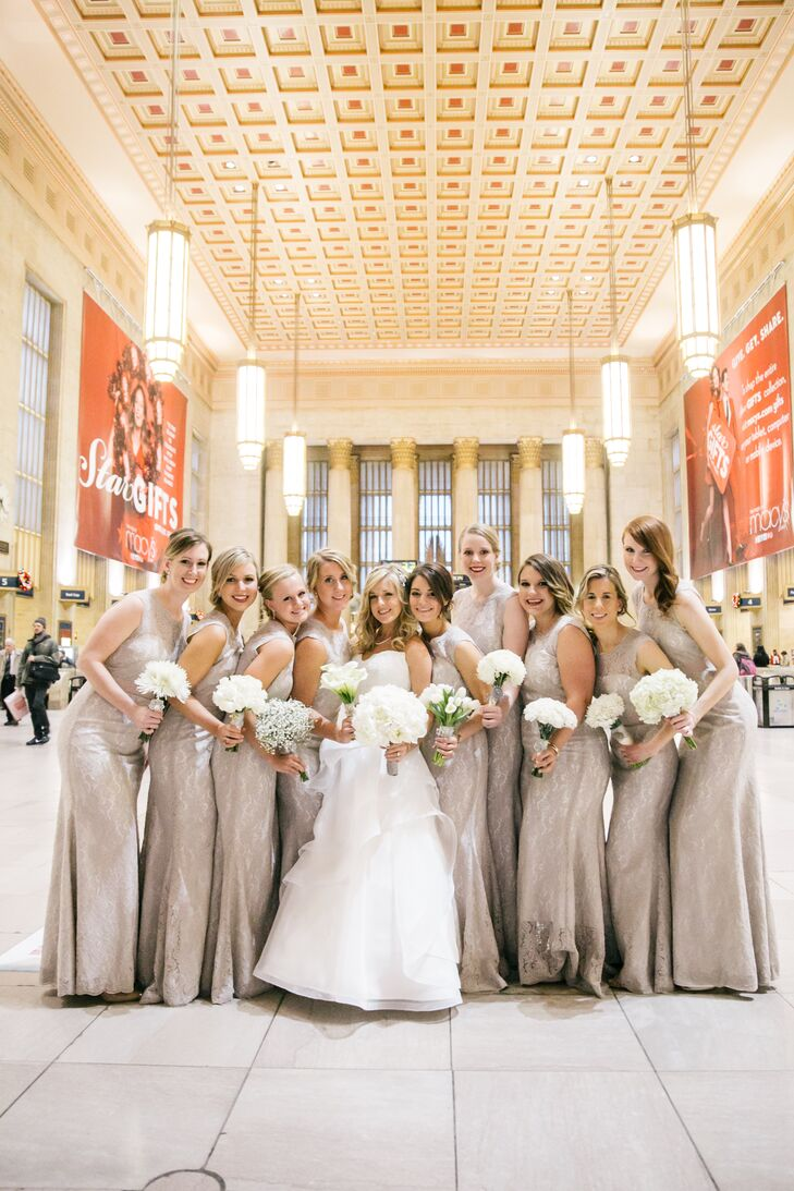 Bridesmaids in taupe floor length bridesmaid dresses ombrellifo Choice Image