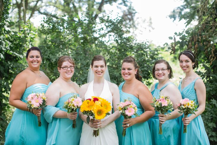 Turquoise Pool-Colored Bridesmaids Dresses