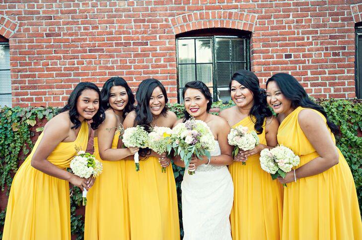 canary bridesmaid dresses