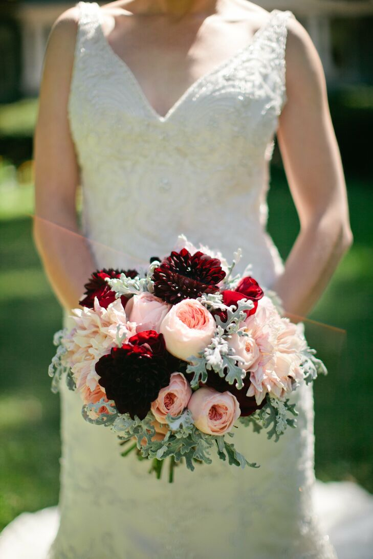 Burgundy And Peach Bridal Bouquet