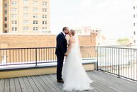 Lauren Huffman  and Adam Lefler brought their downtown Raleigh, North Carolina, loft wedding to life with a jewel-tone palette, gold and acrylic accen