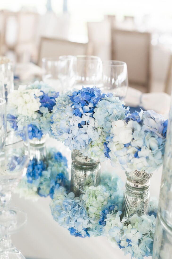 Blue and White Hydrangea, Mercury Glass Centerpieces