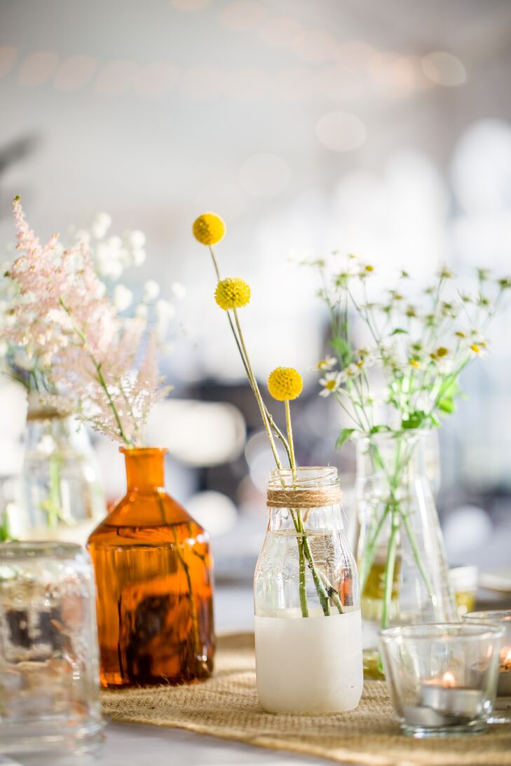 Diy glass milk bottle centerpieces
