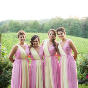 Pink And Yellow A Line Bridesmaid Dresses