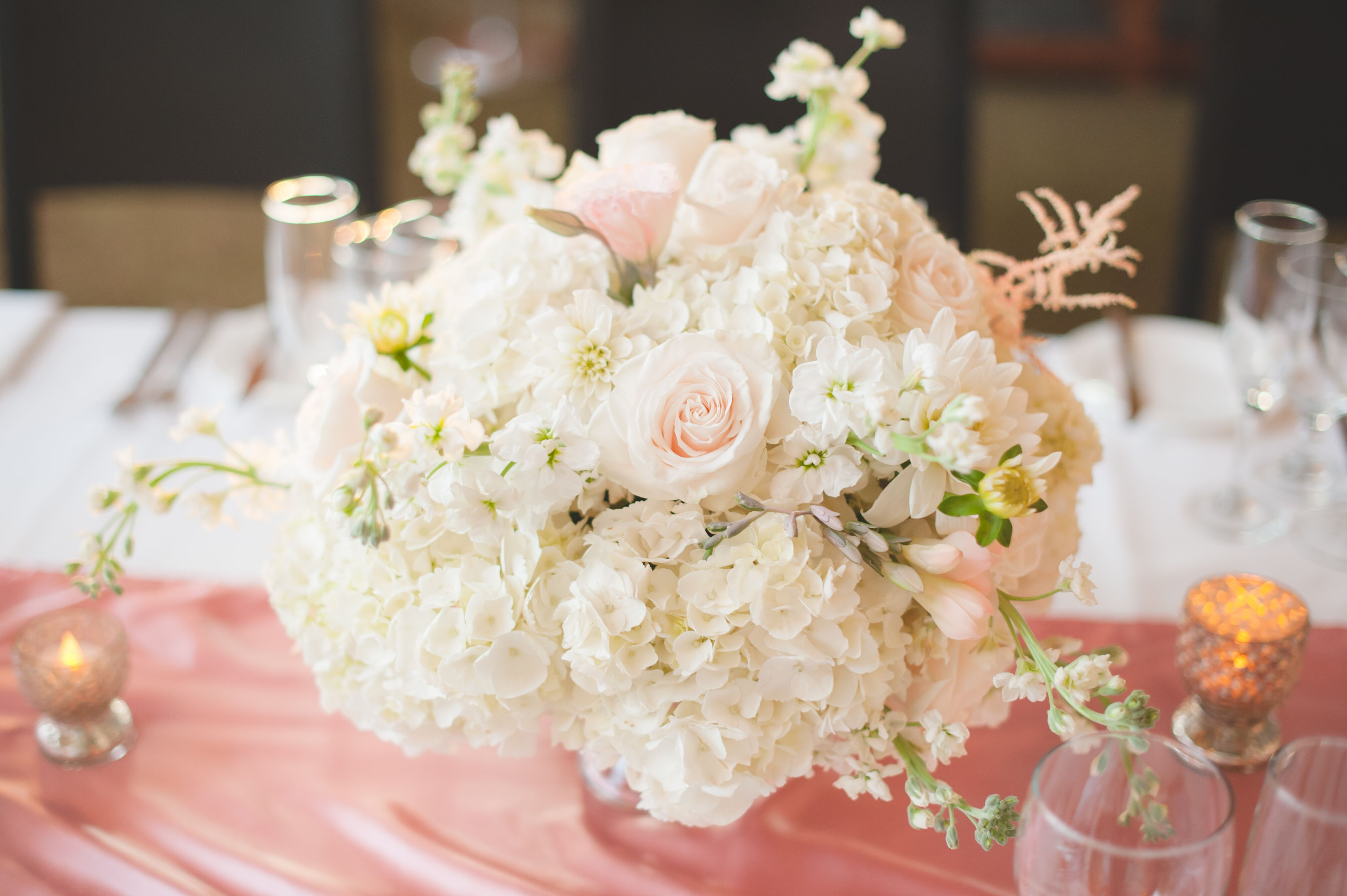 Hydrangea rose and stock flower centerpieces