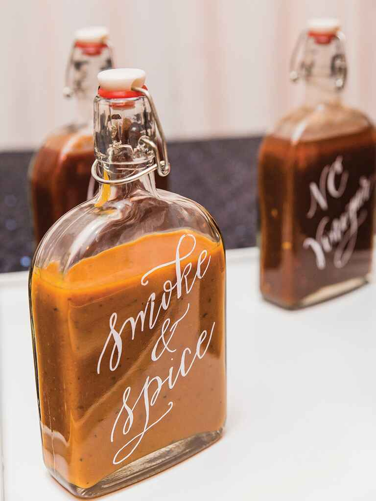 Homemade spice sauce wedding favor idea