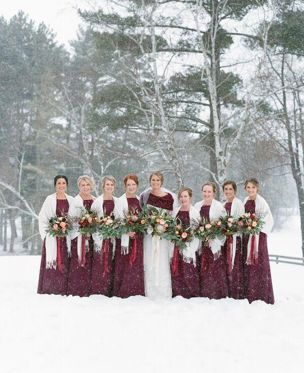 Long Burgundy Bridesmaid Dresses And Gray Shawls