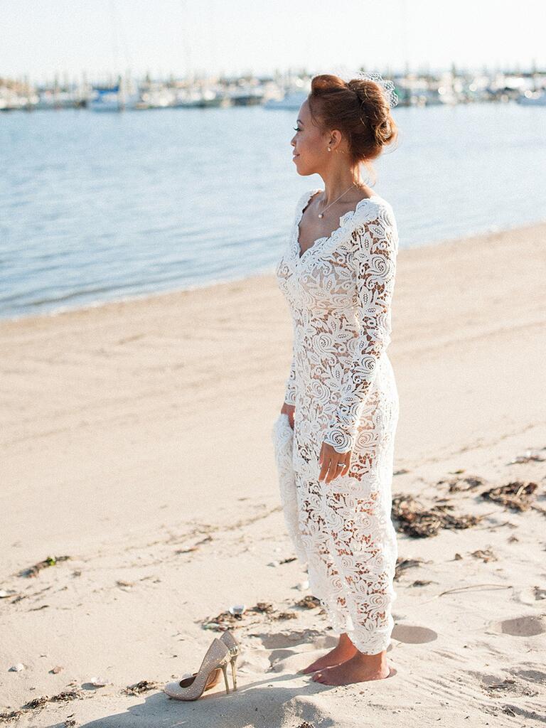 Handmade lace sheath wedding dress
