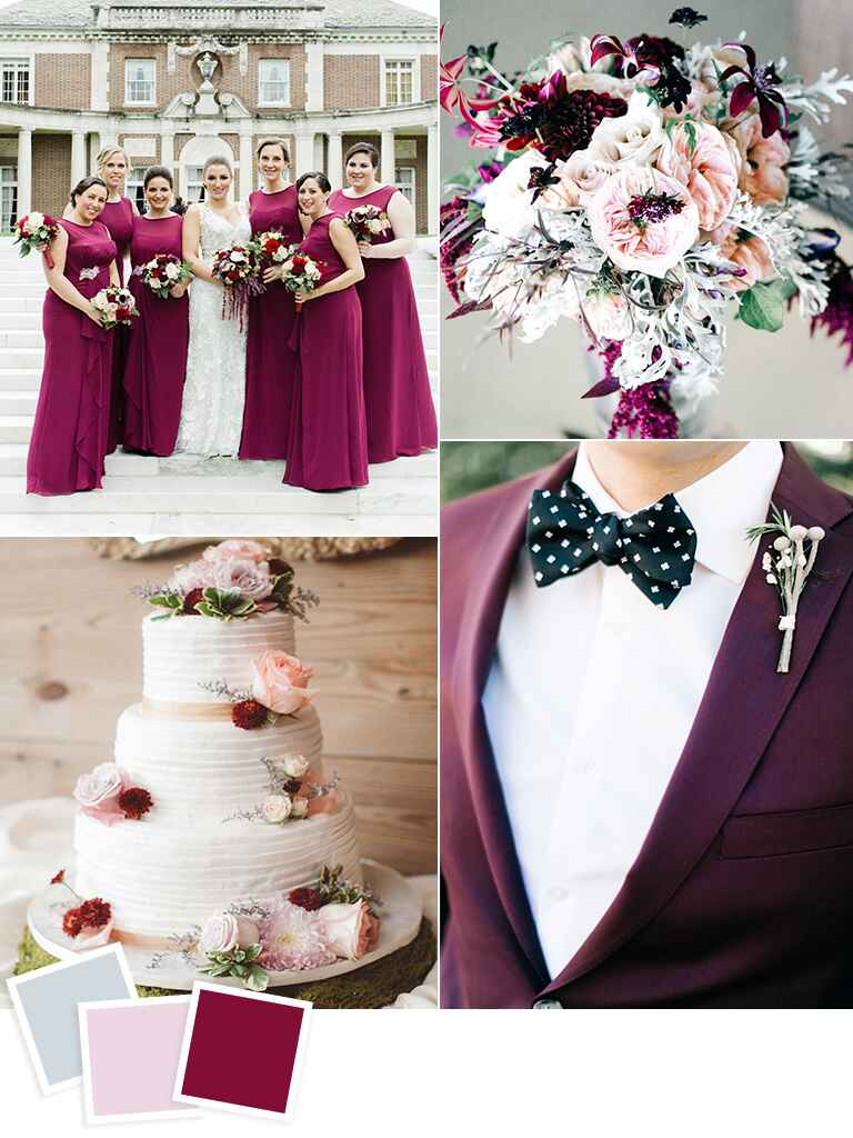 Frost, blush and boysenberry fall wedding color idea