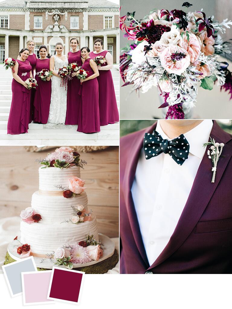 12 fall wedding color combos to steal geronimo oaks weddings events frost blush and boysenberry fall wedding color idea junglespirit