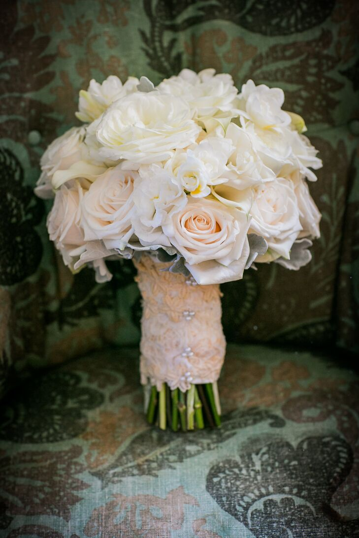 Classic Ivory Rose Bouquet Wrapped in Lace