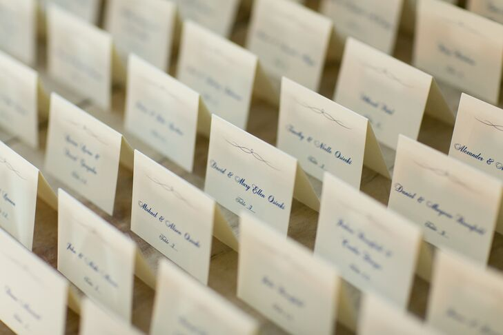 Classic Ivory Folded Escort Cards With Navy Script